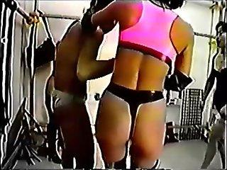 Mistress kicked her slave.