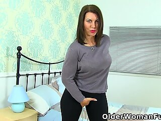Well rounded milf Raven from the UK strips off and finger fucks