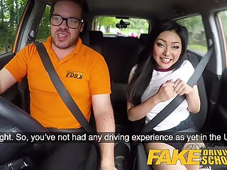 fake Driving school Sexy Japanese Rae Lil Black hot for instructors stiffy