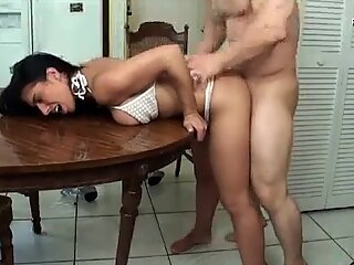 perfect milf gets fucked on the kitchen table