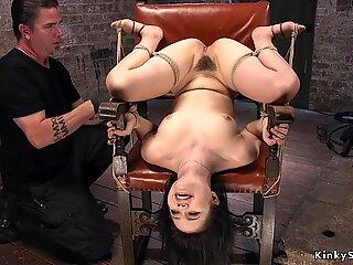 Hirsute cunt sub whipped in suspension