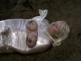 uk blonde naked covered in cling film
