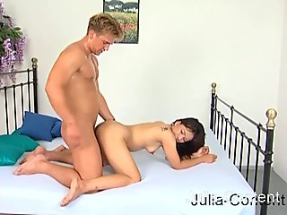 Sweet Asian girl does threesome fuck