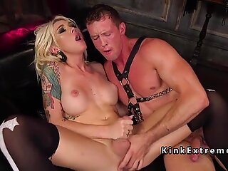 Blonde tranny ass sniffed and rimmed