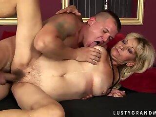 Mature lady Irene is sucking hard dick