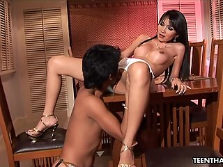 Sizzling hot Asian babe fucked by a fat donger