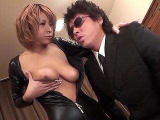Japanese with sexy scones masturbates with toys