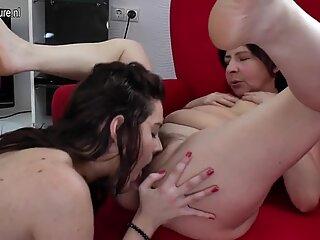 Mother fucks young lesbian girl