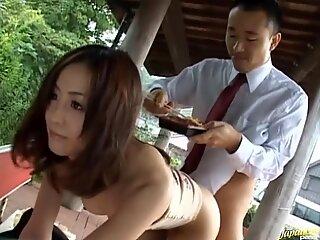 Sweetheart is satisfying two hungry male weenies