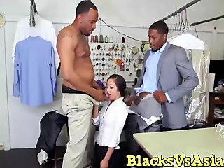 Sexy brunette asian fucked by two big black dick dudes