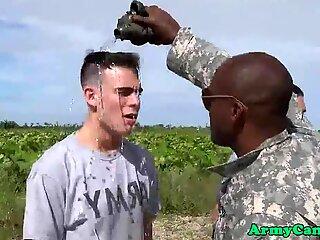 Muscular army hunks banging jock outdoors