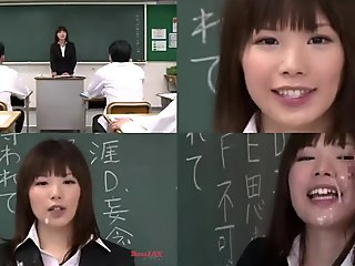 Japanese teacher bukkake split screen